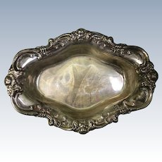 Sterling Silver Footed Oblong Serving Bowl by Wallace Ornate Floral Rim