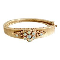 Vintage Mid-Century Bangle Bracelet 14K Gold & Natural Opal