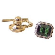 Art Deco Era Green Tourmaline Tie Tack 14K White Gold