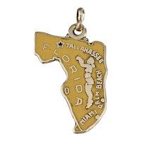 US State Florida Vintage Charm 14K Gold Colorful Enamel