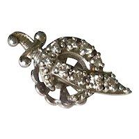 Shriners Hat Pin 14K White Gold & Diamond