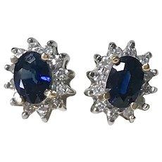 Sapphire & Diamond Stud Earrings 14K Two-Tone Gold 1.44 Total Gem Weight