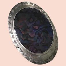 Native American Bolo Tie Pendant Sterling Silver & Abalone