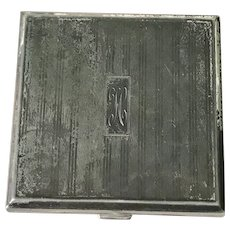 Birks Sterling Silver Mirrored Compact H Monogram