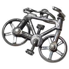 Moving Bicycle / Bike Vintage Charm Sterling Silver Three-Dimensional