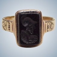 Victorian Era Ring 10k Gold Carved Onyx Intaglio, Roman Soldier