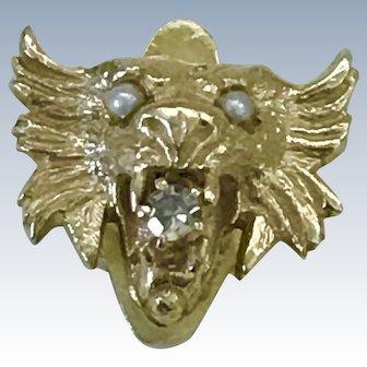 Victorian Dragon Slide 14K Gold, Diamond & Seed Pearl