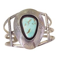 Navajo Crafted Wide Shadowbox Cuff Bracelet Sterling Silver & Turquoise