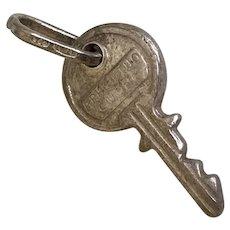 Key Vintage Charm Sterling Silver Three-Dimensional