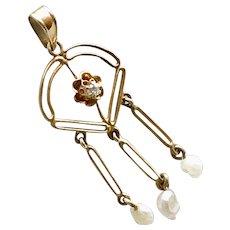 Victorian Lavaliere Pendant 10K Gold Diamond & Fresh Water Pearls