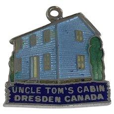 Uncle Tom's Cabin Vintage Charm Sterling Silver Colorful Enamel