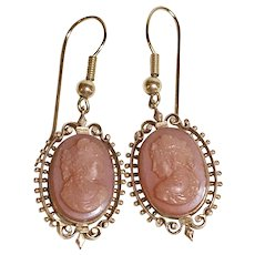 Victorian Dangle Earrings 14K Gold Hard-Stone Cameo