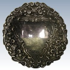 Ornate Repousse Round Footed Bowl Sterling Silver