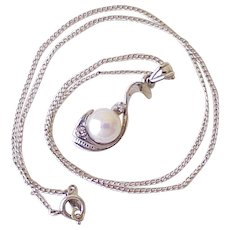 Vintage Necklace/Pendant 14K White Gold Cultured Pearl & Diamond