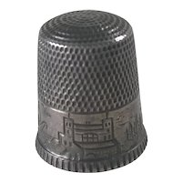 Waite, Thresher Co. Antique Sewing Thimble Sterling Silver, Coastal Village Scene