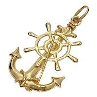 Nautical Fouled Anchor & Ships Wheel Pendant 14K Gold