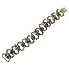 Victorian Revival Vintage Jeweled Book-Link Bracelet Gold Tone