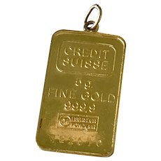 24K Fine Gold Bar Pamp Vintage Charm / Pendant, 5 Grams