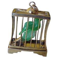 Big Vintage Charm Jade Bird in Birdcage 14K Gold Three-Dimensional circa 1950's