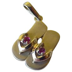 Jeweled Flip-Flop Sandal Charm 14K Gold & Ruby Three-Dimensional