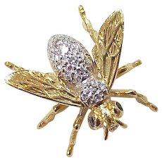 Jeweled Honey Bee Pin 14K Two-Tone Gold Diamond & Sapphire