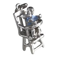 Moving Baby Boy in Highchair Vintage Charm Sterling Silver, Enamel Accent