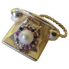Big Jeweled Telephone Vintage Charm 14k Gold Three-Dimensional circa 1950's