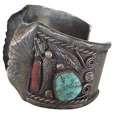 Navajo Crafted WIDE Watch Bracelet Sterling Silver Turquoise & Red Coral