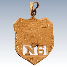 Corrections Officer Badge Vintage Charm / Pendant, New Jersey 14K Gold