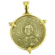 Byzantine Style Coin Pendant / Charm 14K Gold Sterling Silver