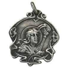 Art Nouveau Musical Award of Merit Medal Sterling Silver