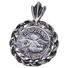 "Bezel Set Three Dimensional Sterling Silver ""MY"" Guardian Angel Charm or Pendant - Circa 1970"