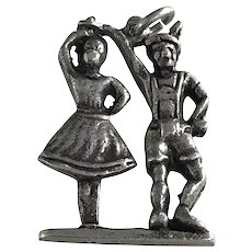 Moving Bavarian Dancing Couple Vintage Charm Three Dimensional 800 Silver