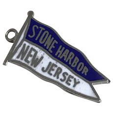 Stone Harbor New Jersey Vintage Charm Sterling Silver Colorful Enamel