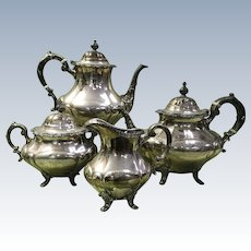 Coffee & Tea Service Sterling Silver 4 Piece Reed & Barton Georgian Rose