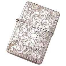 Vintage Sterling Silver Lighter Case, Hand Engraved Design, Italy