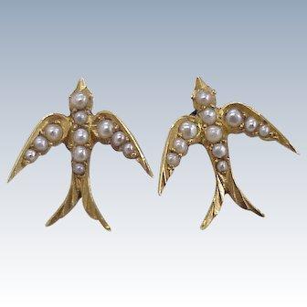 Victorian Swallow Bird Earrings 15K Gold & Seed Pearl