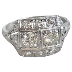 Art Deco Diamond Ring Platinum 1.24 Carats Total