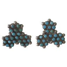 Native American Vintage Screw-Back Earrings Sterling Silver & Turquoise Fred Harvey Era