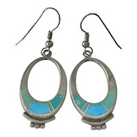 Native American Dangle Earrings Sterling Silver Turquoise Intarsia