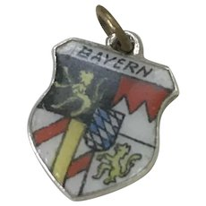 Bayern Germany Vintage Charm Colorful Glass Enamel Sterling Silver