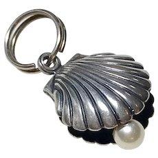 Scallop Seashell w/Pearl Vintage Charm Sterling Silver Three-Dimensional