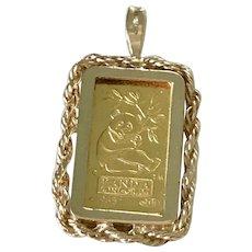 24K Fine Gold Bar PANDA 1985 Vintage Charm