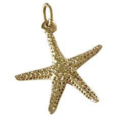 Sea Star or Starfish Vintage Charm 14K Gold Three-Dimensional