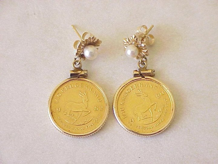 Gold Krugerrand Coin Earrings 14k Settings Pearl Accent