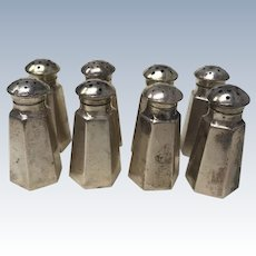 Set of 8 Individual Salt & Pepper Shakers Sterling Silver by Wallace
