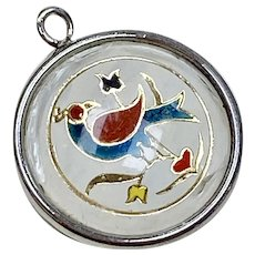 Hoffman Sterling Silver Bubble Charm ~ Enamel Friendship Bird - 1970