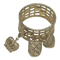 Charm Ring 14K Gold with Heart, Crest & Crown Charms, size 5-1/2