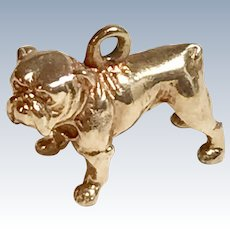 English Bulldog Vintage Charm 14K Gold Three-Dimensional