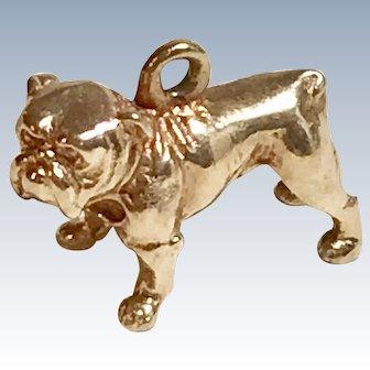 English Bulldog Vintage Charm 14K Gold Three-Dimensional